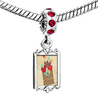 Charms Beads - red crystal dangle colorful hearts Image.