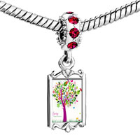 Charms Beads - red crystal dangle colorful leaf tree Image.