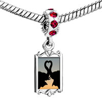 Charms Beads - red crystal dangle black swan couple love Image.