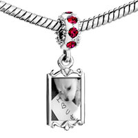 Charms Beads - red crystal dangle dog paper i love u too Image.