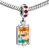 Charms Beads - red crystal dangle neon lights party time Image.