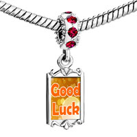 Charms Beads - red crystal dangle circles good luck Image.
