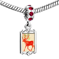 Charms Beads - red crystal dangle beautiful christmas rudolph reindeer snowflake flowers Image.