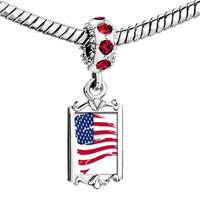 Red Crystal Dangle Photo Painting Usa Flag Beads Charms Bracelets