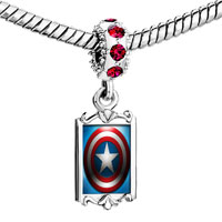 Charms Beads - red crystal dangle the shield steve used in movie captain america Image.
