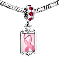 Charms Beads - red crystal dangle pink backg ribbon breast cancer Image.