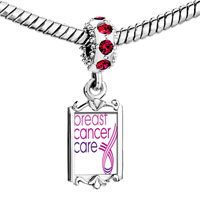 Charms Beads - red crystal dangle pink ribbon breast cancer care Image.
