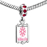 Charms Beads - red crystal dangle pink ribbon flowers breast cancer ribbons hope Image.