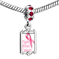Charms Beads - red crystal dangle pink ribbon fight breast cancer Image.