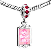 Charms Beads - red crystal dangle pink light ribbon fight breast cancer Image.