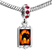 Charms Beads - red crystal dangle halloween black cat orange moon Image.