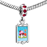 Charms Beads - red crystal dangle mushrooms butterfly Image.