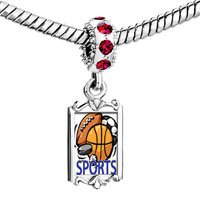 Charms Beads - red crystal dangle sports basketball football soccer Image.