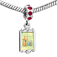 Charms Beads - red crystal dangle cat goldfish Image.