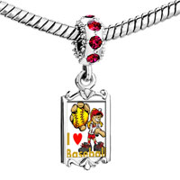 Charms Beads - red crystal dangle girl yellow baseball i love playing Image.