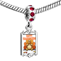 Charms Beads - red crystal dangle thanksgiving day sitting turkey Image.