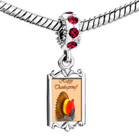 Charms Beads - red crystal dangle thanksgiving day colorful turkey Image.
