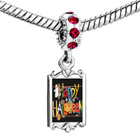 Charms Beads - red crystal dangle jack o lantern halloween colorful happy pumpkin ghost Image.