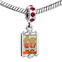 Charms Beads - red crystal dangle lovely bear sleeping on gift box happy birthday Image.