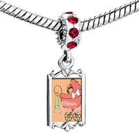 Charms Beads - red crystal dangle little girl in baby carriage welcome my Image.