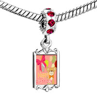 Charms Beads - red crystal dangle cute bear balloons happy birthday Image.