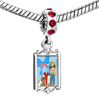 Charms Beads - red crystal dangle cute little boy balloon gift box happy birthday Image.