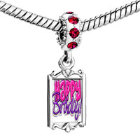 Charms Beads - red crystal dangle deep pink purple happy birthday Image.