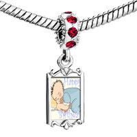 Charms Beads - red crystal dangle little boy bear sleeping happy birthday Image.