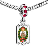 Charms Beads - red crystal dangle christmas rudolph reindeers in xmas wreath bell Image.
