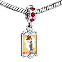 Charms Beads - red crystal dangle child cowboy theme boy love Image.