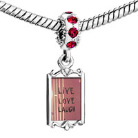 Charms Beads - red crystal dangle indian backg live love laugh Image.