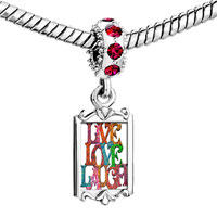 Charms Beads - red crystal dangle colored artistic live love laugh Image.