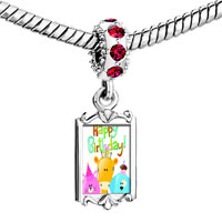 Charms Beads - red crystal dangle photo happy birthday cute animals Image.