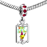 Charms Beads - red crystal dangle photo happy birthday bird Image.
