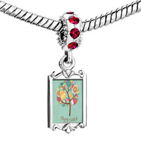 Charms Beads - red crystal dangle photo happy easter tree Image.