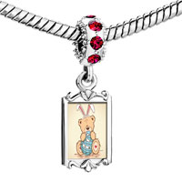 Charms Beads - red crystal dangle photo little bear Image.