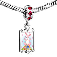 Charms Beads - red crystal dangle photo little rabbit Image.