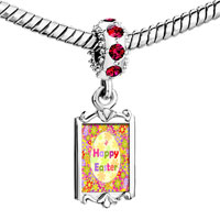 Charms Beads - red crystal dangle easter day colorful flowers happy Image.
