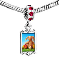 Charms Beads - red crystal dangle easter day rabbit doll colorful egg Image.