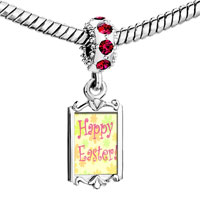 Charms Beads - red crystal dangle easter day happy Image.
