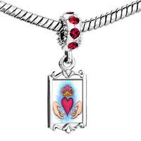 Charms Beads - red crystal dangle Image.