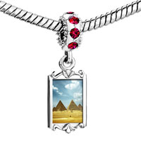 Charms Beads - red crystal dangle photo egypt pyramid Image.