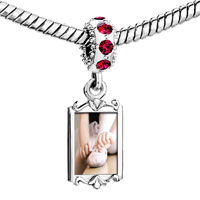 Charms Beads - red crystal dangle photo ballet shoes wearing Image.
