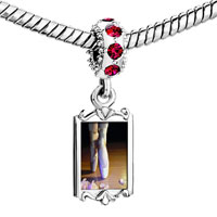 Charms Beads - red crystal dangle photo feet in ballet shoes Image.