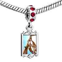 Charms Beads - red crystal dangle photo peace sign gesture Image.