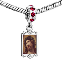 Charms Beads - red crystal dangle charming silver tone jesus Image.
