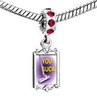 Charms Beads - red crystal dangle purple you suck Image.
