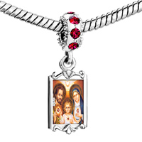 Charms Beads - red crystal dangle charming silver tone family three Image.