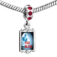 Charms Beads - red crystal dangle you blow air Image.
