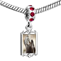 Charms Beads - red crystal dangle charming silver tone praying animal Image.